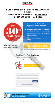30 Day List Building Challenge preview. Click for more details