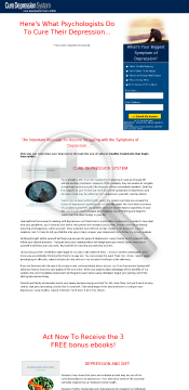 Cure Depression System Ebook preview. Click for more details