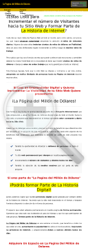 "Gana $750,000 Promoviendo: ""la Pagina Del Millon De Dolares"" preview. Click for more details"