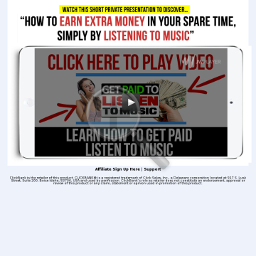 Get Paid To Listen To Music? Great Conversions! Upsells + Downsells! preview. Click for more details