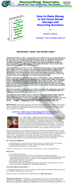 How To Make Money In The Home Based Salvage And Recycling Business preview. Click for more details