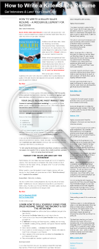 How To Write A Killer Sales Resume preview. Click for more details