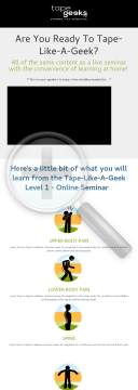 Level 1 Kinesiology Taping Online Seminar preview. Click for more details