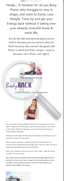 Mum's 'bodyback' Weight Loss Plan preview. Click for more details
