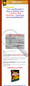New Instant Directory Profits Software preview. Click for more details