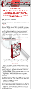 Public Speaking Mastery For Sales Managers! preview. Click for more details