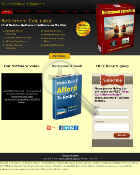 Retirement Calculator Software preview. Click for more details