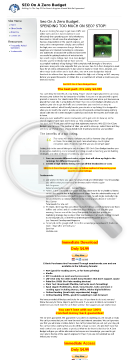 SEO On A Zero Budget preview. Click for more details