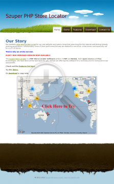 Szuper PHP Store Locator preview. Click for more details