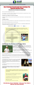 Tennis Serve Video Instructional Course preview. Click for more details