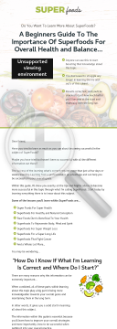 The Importance Of Superfoods For Overall Health And Balance Ebook preview. Click for more details