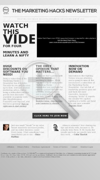 The Marketing Hacks Newsletter preview. Click for more details