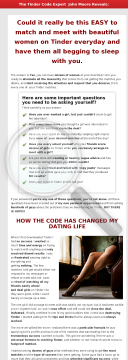 The Tinder Code - Dating Advice - High Converting Copy Page preview. Click for more details