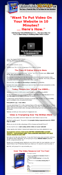 Video Web Wizard 2.0 Software - Put Video On Any Website In 10 Minutes preview. Click for more details